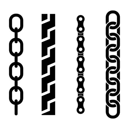 metal parts: Vector black metal chain parts icons set on white background