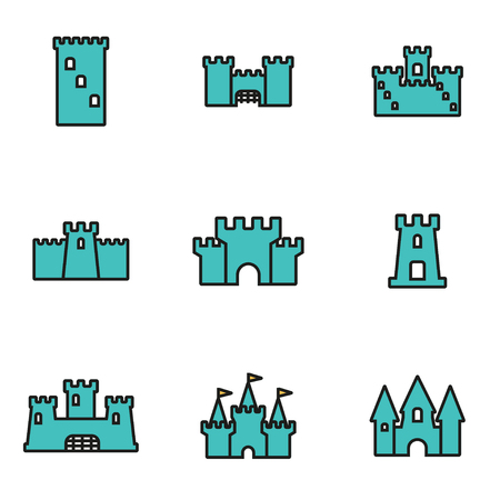 history architecture: Trendy flat line icon pack for designers and developers. Vector line castle icon set, castle icon object, castle icon picture, castle image - stock vector