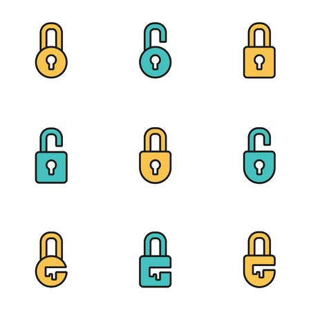 computer keys: Trendy flat line icon pack for designers and developers. Vector line locks icon set, locks icon object, locks icon picture, locks image - stock vector