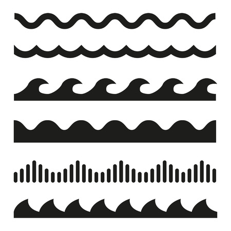 Vector black wave icons set on white background. Water waves