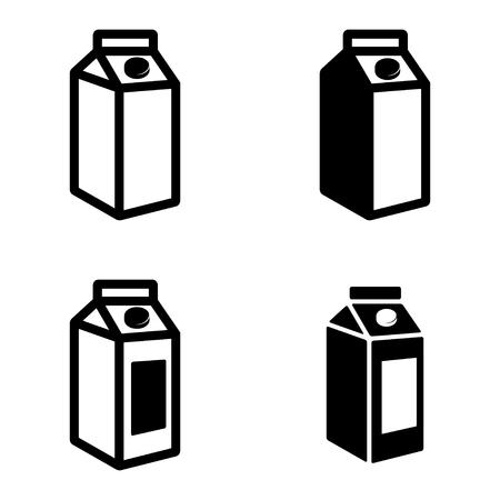 carton de leche: Los envases de cartón de leche negro de vectores iconos conjunto sobre fondo blanco.