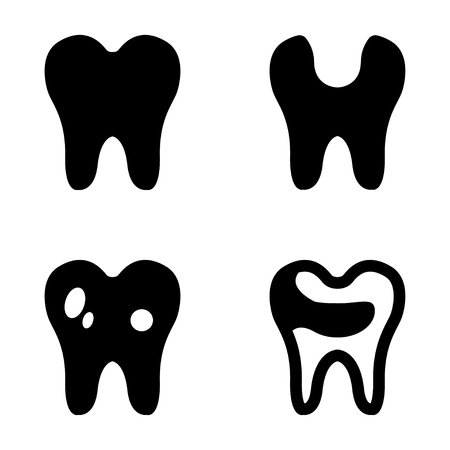 teeth white: Vector black teeth icons set on white background. Tooth icon, dental  signs.