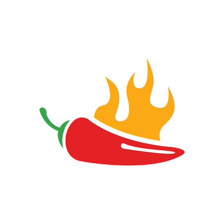 jalapeno: Vector red chilli pepper icon and yellow fire. Jalapeno peppers symbol