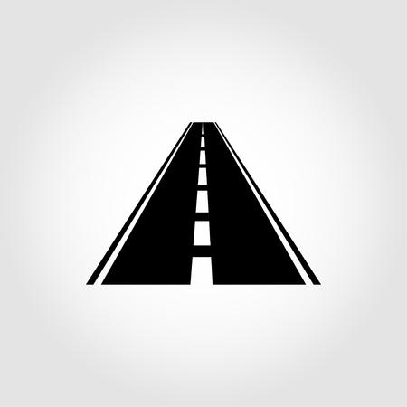 highway icon: Vector black car road icon. Highway symbol. Road sign.