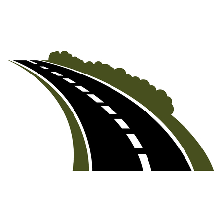 roadside: Vector black car road icon. Highway symbol. Road sign. Winding paved road icon with green grassy roadside and curly bushes