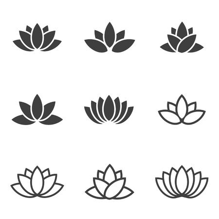 벡터 검은 연꽃 아이콘 흰색 배경에 설정합니다. 로터스 공장. 연꽃