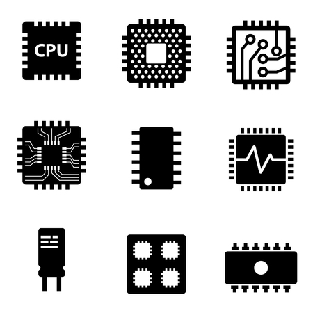 Vector zwart CPU microprocessor en chips iconen set. Elektronische chip pictogrammen op een witte achtergrond