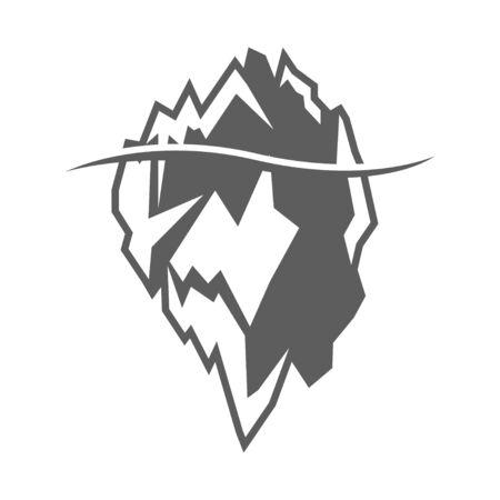 arctic landscape: Vector grey iceberg icon on white background. Iceberg mountain shape Illustration