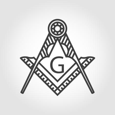 sociedade: cinza ícone do vetor emblema maçonaria maçônica no fundo cinzento. Maçônica praça bússola símbolo Deus. elemento alquimia na moda. filosofia da religião, espiritualidade, ocultismo, química, ciência, mágica