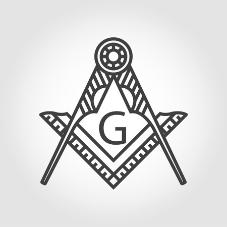 occultism: Vector grey masonic freemasonry emblem icon on grey background. Masonic square compass God symbol. Trendy alchemy element. Religion philosophy, spirituality, occultism, chemistry, science, magic Illustration
