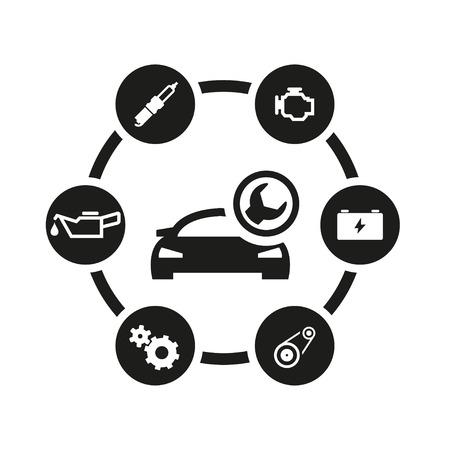 Wektor czarny samochód usługi zestaw ikon. Samochód Service Icon Obiekt, Car Service Icon Zdjęcie, Samochód Service Icon Image - stock czas