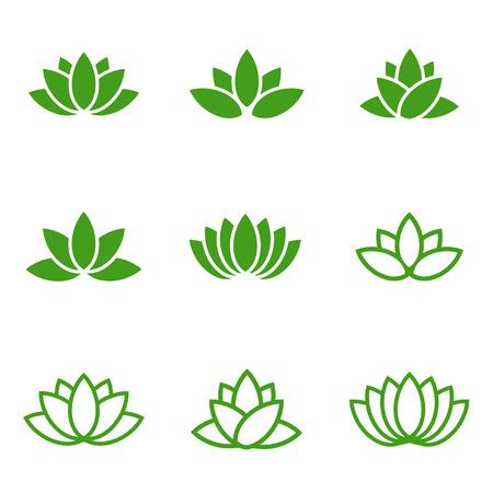 Vector green lotus icons set on white background. Lotus plant. Lotus flower