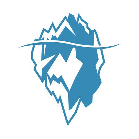 Vector blue iceberg icon on white background. Iceberg mountain shape
