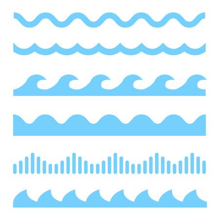 Vector blauwe golf iconen op een witte achtergrond. Watergolven Vector Illustratie