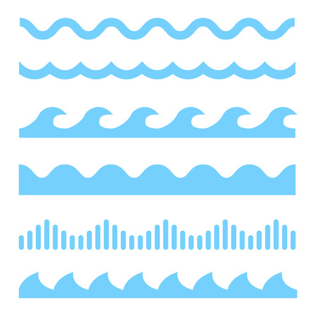 Vector blue wave icons set on white background. Water waves 版權商用圖片 - 56000451