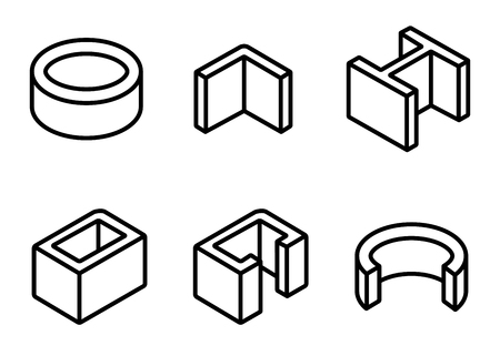 metallurgy: Vector line metal profilies icons set. Steel product and construction material icon