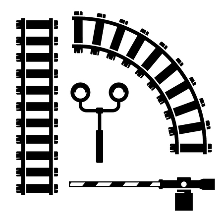 Vector black  objects for rail road icons set on white background Illustration