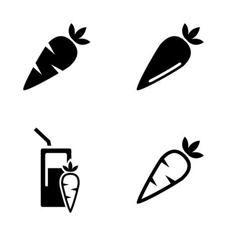carotene: Vector black carrot, carrot meals icons set white background