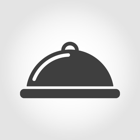 cloche: Vector grey food platter icon on white background. Food platter serving sign