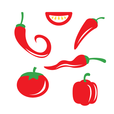 organic peppers sign: Vector red chili pepper icons set on white background.