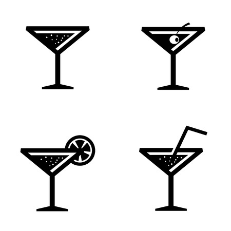 cocktail drink: Vector black cocktail icons set on white background. Drink alcohol beverage icons