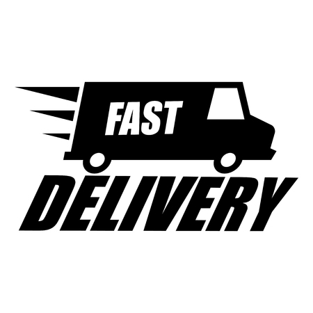 delivery icon: Vector black fast delivery icon on white background. Express delivery icon. Free delivery icon.
