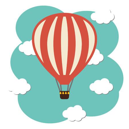 ballooning: Vector hot air ballon icon in the sky vector