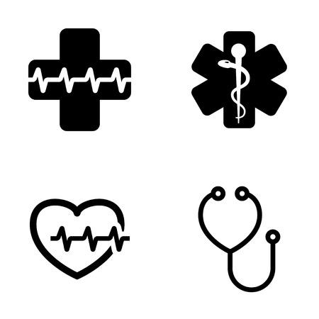 simbolo medicina: Vector conjunto negro iconos de símbolo médico. Emblema de farmacia o medicina, la muestra médica, símbolo de la farmacia, símbolo de la serpiente farmacia