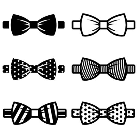 white bow: Vector black bow ties icons set on white background. Illustration