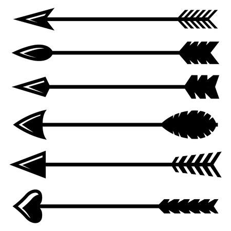 arco y flecha: Vector negro arco de flecha conjunto de iconos en el fondo blanco Vectores
