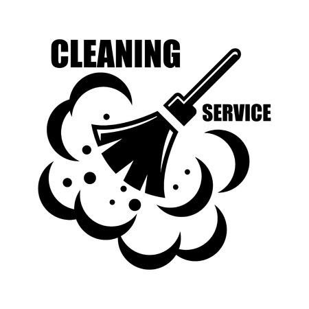 Wektor sprzątanie ikonę na białym tle. Czyszczenie emblematy, etykiety i usług zaprojektowanych elementów Ilustracje wektorowe