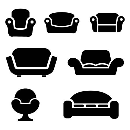 couches: Vector black sofas and couches icons set on white background. Sofa furniture. Vintage furniture. Illustration
