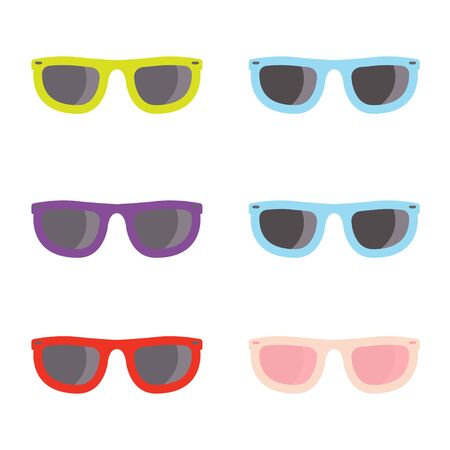 aviator: Vector color sunglasses icons set on whote background. Aviator sunglasses sign. Glasses Icon