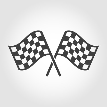 racing checkered flag crossed: Vector checkered flags icons set on grey background. Crossed black and white checkered flags