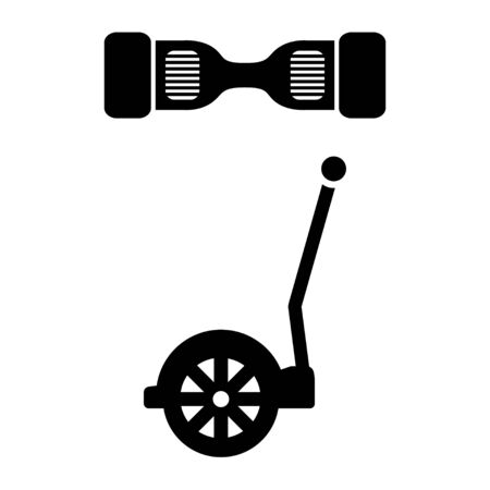 movement control: Vector black segway icon. Alternative transport vehicle segway electric gyro scooter