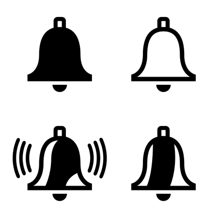 door bell: Vector black bell icons set on white background. Ringing bell icon