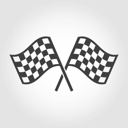 two crossed checkered flags: Vector checkered flags icons set on grey background. Crossed black and white checkered flags