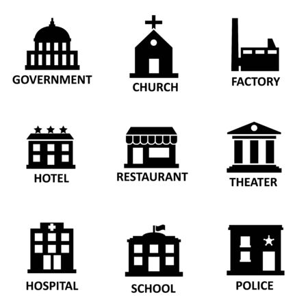 bacground: Vector black government building icons set on white bacground.