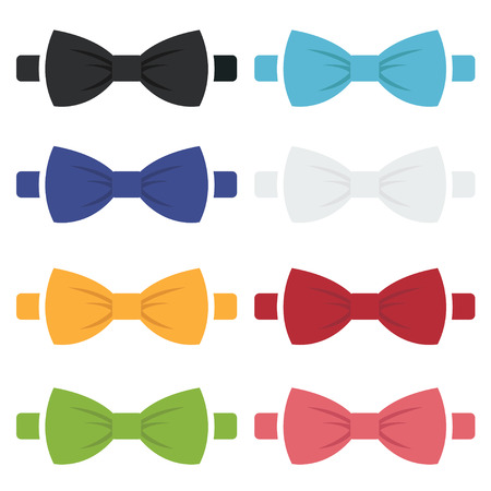 Vector color bow ties icons set on white background.