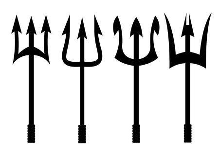 Vector tridente nero set di icone su sfondo bianco