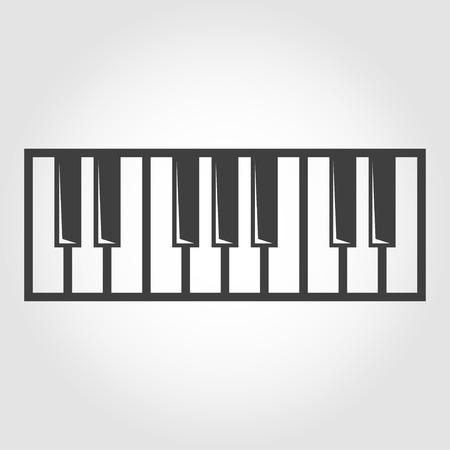 piano key: Vector black piano key icon on grey background. Illustration