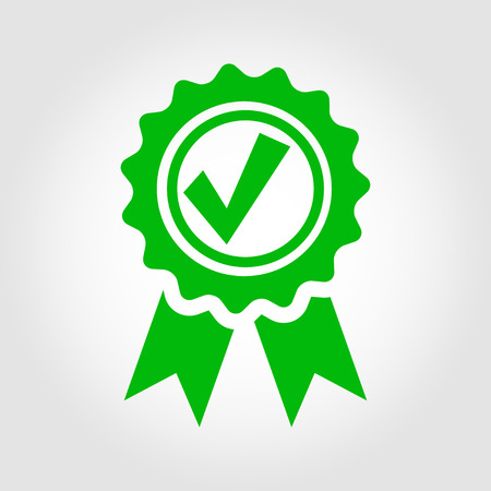 proven: Vector green approved certificate icon on grey background. Certified Seal Icon
