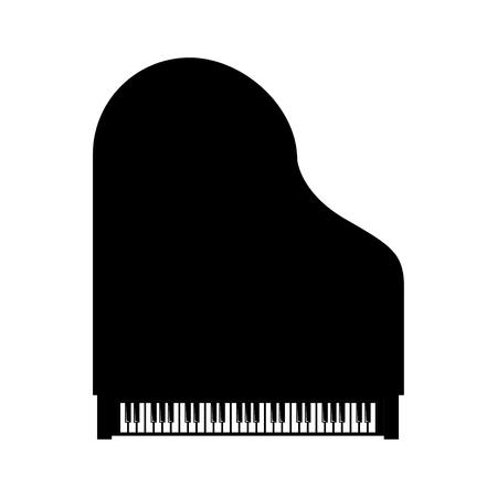 Vector black vue grandiose dessus de piano sur fond blanc