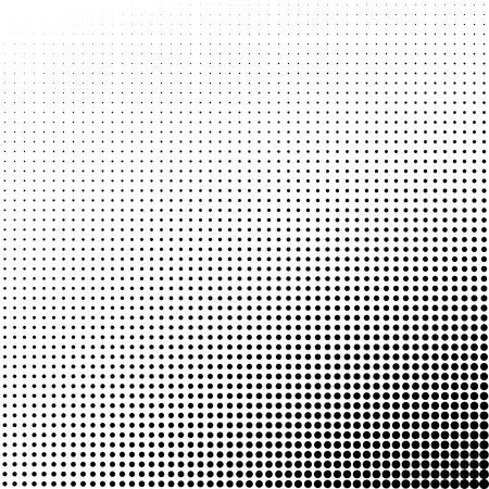 gradation art: Vector halftone dots. White dots on black background.
