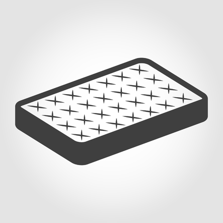 cushioned: Vector black mattress icon on white backgroud.