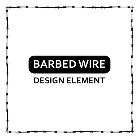 barbed wire frame: Vector black barbed wire frame on white backround