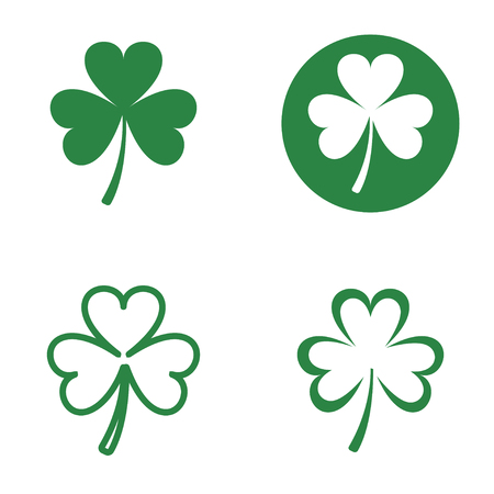 white bacground: Vector green clovers icons set on white bacground