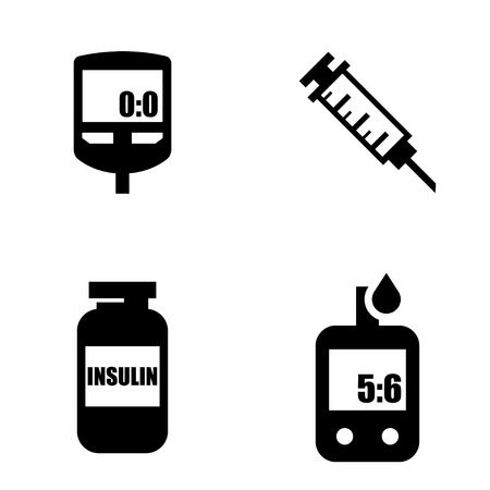 glucose: Diabetes black icon set. Blood Glucose Test. Hand holding Glucose Meter