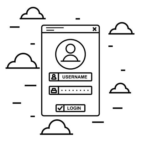 vectro: Vectro black line login interface. User login access technology creative concept. Register web interface