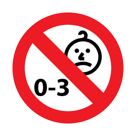 Niet geschikt voor kinderen onder de 3 jaar oud icoon. Silhouet van een kind in een rode cirkel, geïsoleerd op een witte achtergrond
